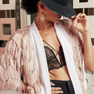 woman hat bra Fringe Kimono pink
